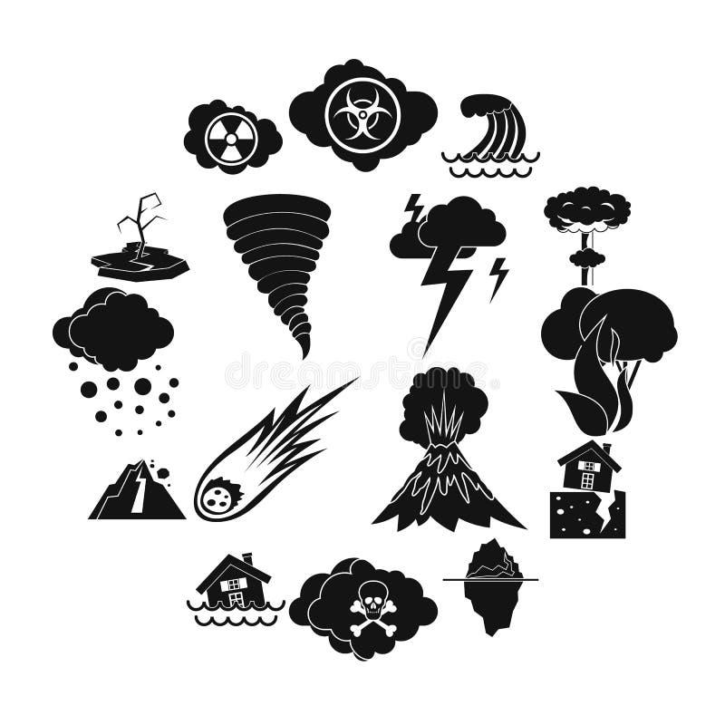 Geplaatste natuurrampenpictogrammen, eenvoudige ctyle vector illustratie