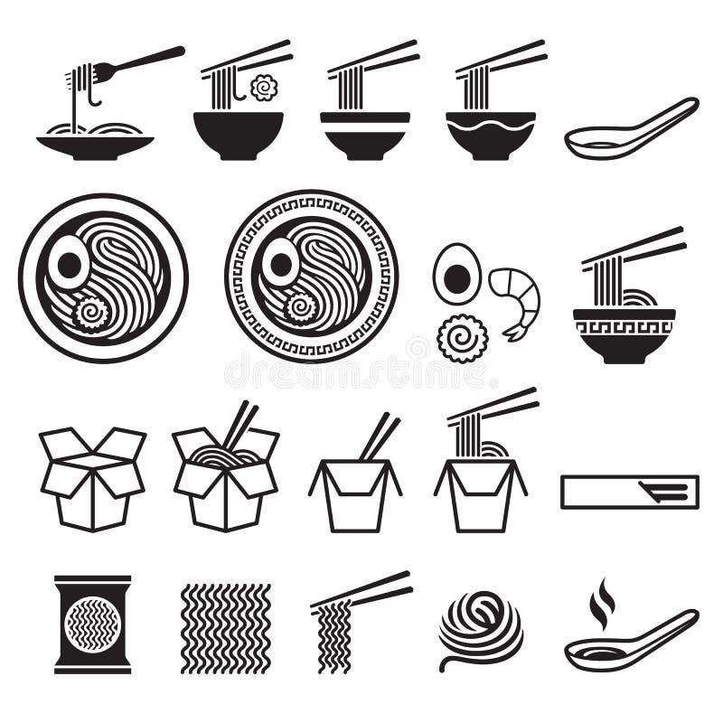 Geplaatste noedelpictogrammen stock illustratie