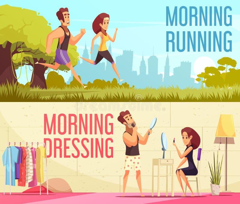 Geplaatste ochtendbanners royalty-vrije illustratie