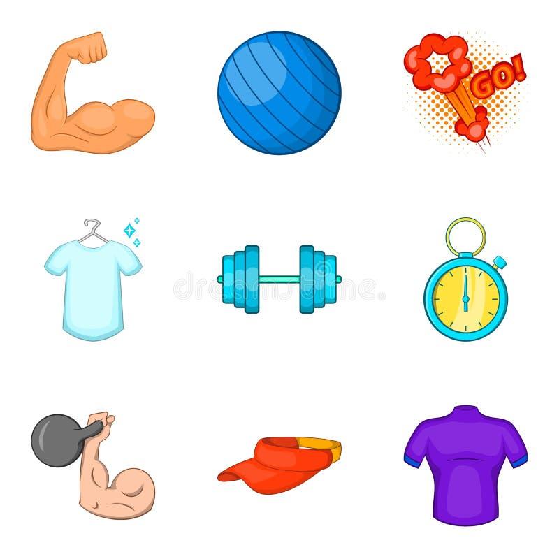 Download Geplaatste Oefeningspictogrammen, Beeldverhaalstijl Vector Illustratie - Illustratie bestaande uit zaken, doos: 107708985