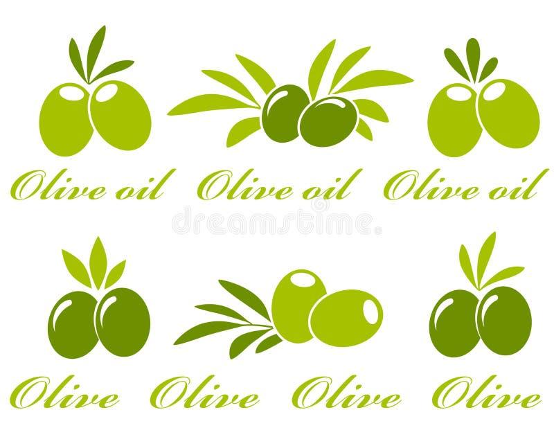 Geplaatste olijfpictogrammen royalty-vrije illustratie