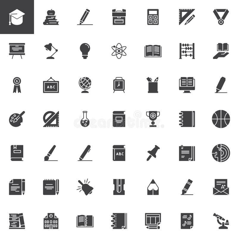 Geplaatste onderwijs vectorpictogrammen royalty-vrije illustratie