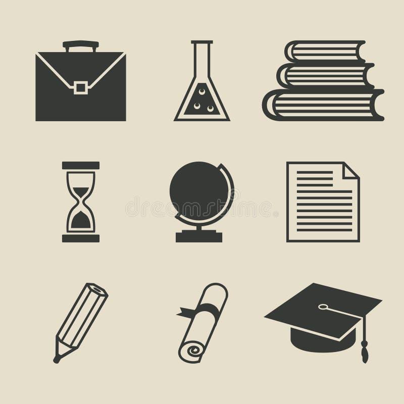 Geplaatste onderwijspictogrammen - vectorillustratie vector illustratie