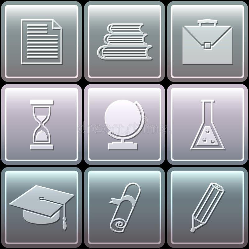 Geplaatste onderwijspictogrammen - vectorillustratie stock illustratie