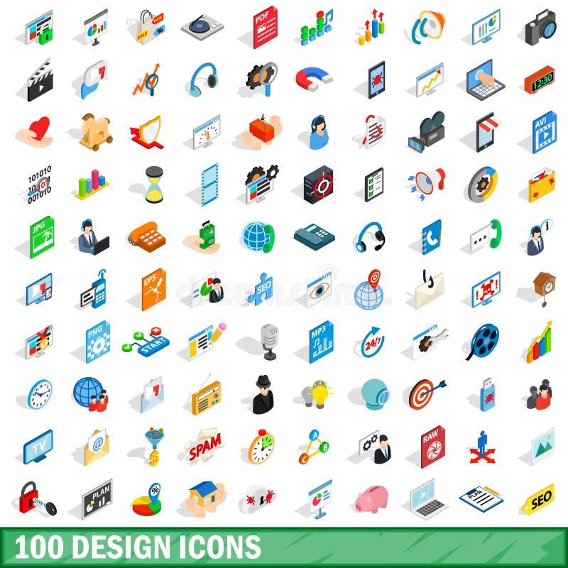 100 geplaatste ontwerppictogrammen, isometrische 3d stijl stock illustratie