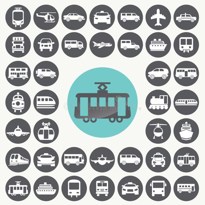 Geplaatste openbaar vervoerpictogrammen vector illustratie