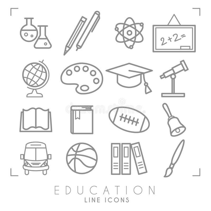 Geplaatste overzichts dunne zwart-witte pictogrammen Onderwijsinzameling Chemisrty, fysica, wiskunde, aardrijkskunde, astronomie, royalty-vrije illustratie