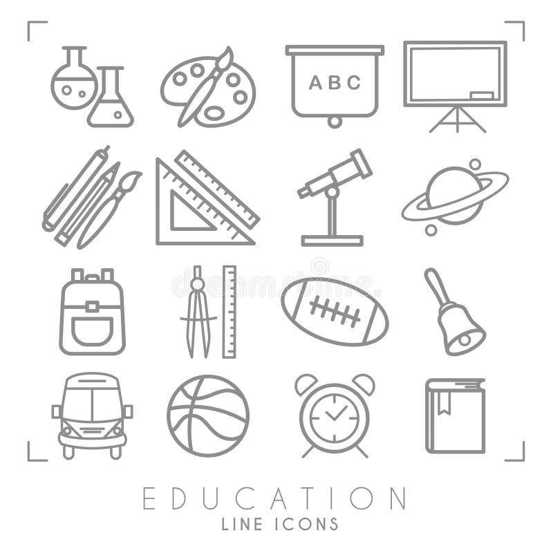 Geplaatste overzichts dunne zwart-witte pictogrammen Onderwijsinzameling Chemisrty, fysica, wiskunde, aardrijkskunde, astronomie, vector illustratie