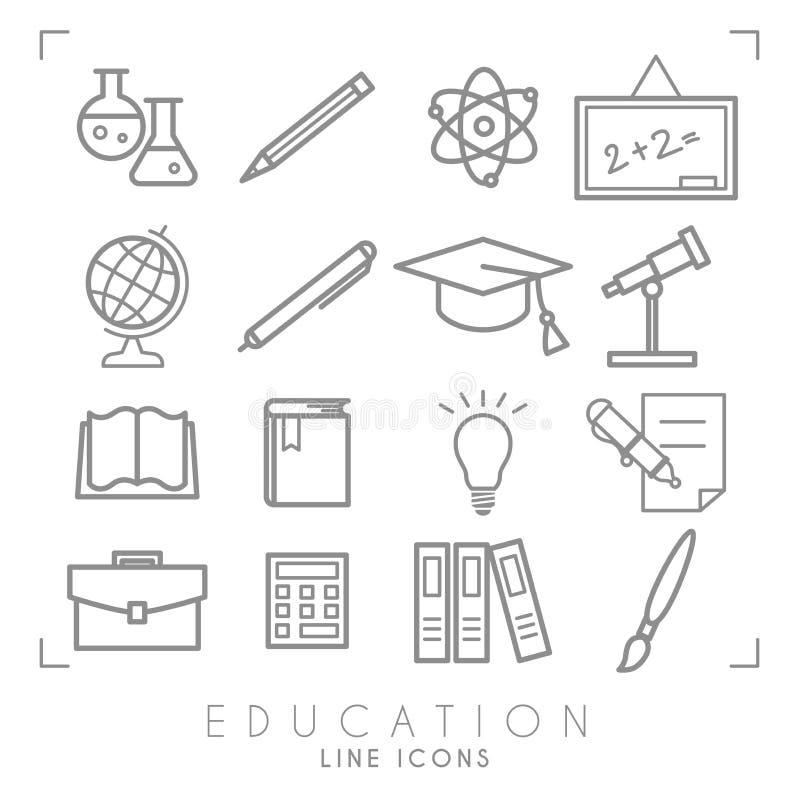 Geplaatste overzichts dunne zwart-witte pictogrammen Onderwijsinzameling Chemisrty, fysica, wiskunde, aardrijkskunde, astronomie  stock illustratie