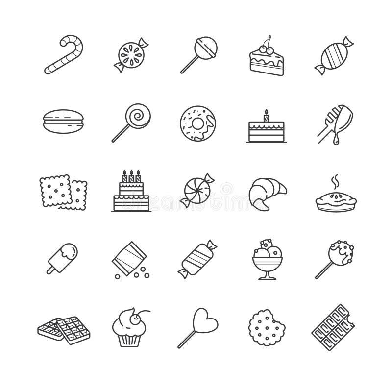 Geplaatste overzichtspictogrammen - suikergoed, cakes, koekjes, snoepje, roomijs stock illustratie
