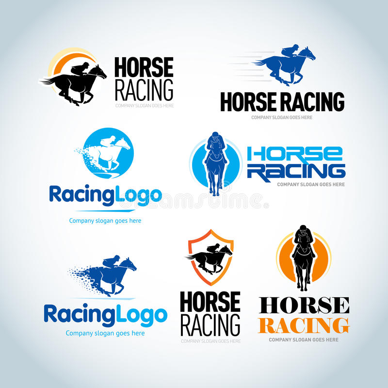 Geplaatste paardenrennen logotype malplaatjes Het paardenrennen verzinnebeeldt malplaatje Geïsoleerde vectorembleemvariaties stock illustratie
