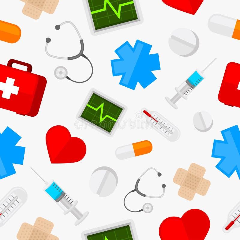 Geplaatste patroon medische pictogrammen royalty-vrije illustratie