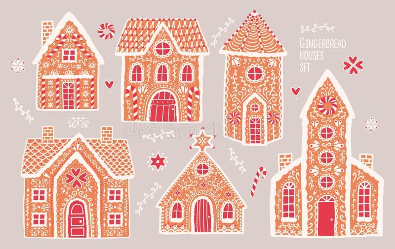 Geplaatste peperkoekhuizen Leuke hand getrokken honing-cakes met patronen Kleurrijke vectorillustratiesinzameling vector illustratie