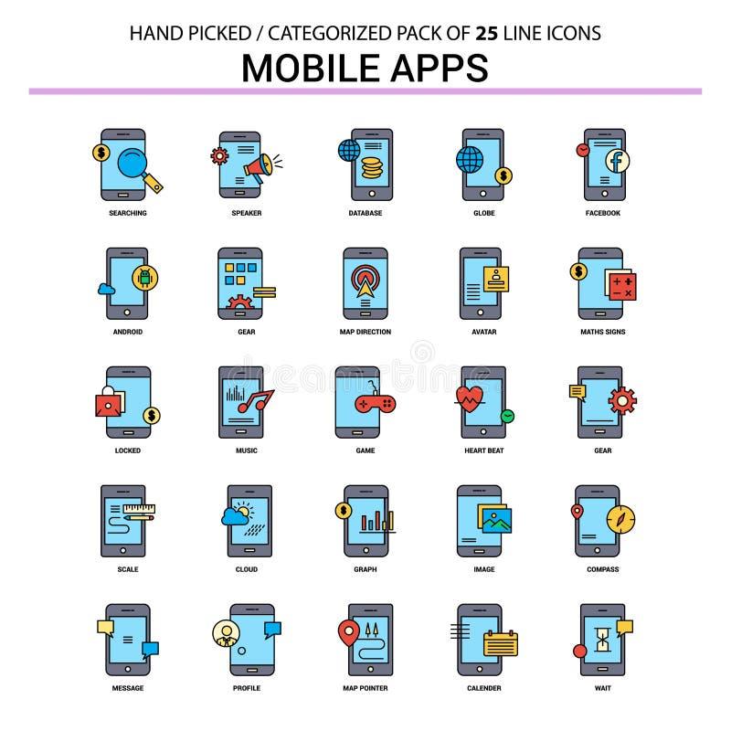 Geplaatste Pictogram van de mobiele toepassingen het Vlakke Lijn - het Ontwerp van Bedrijfsconceptenpictogrammen royalty-vrije illustratie