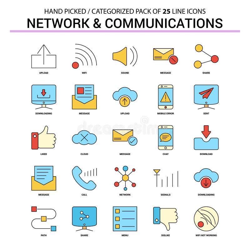 Geplaatste Pictogram van de netwerk en het Communicatie Vlakke Lijn - Bedrijfsconcept royalty-vrije illustratie