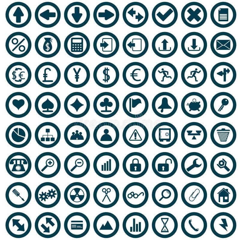 Geplaatste pictogrammen royalty-vrije illustratie