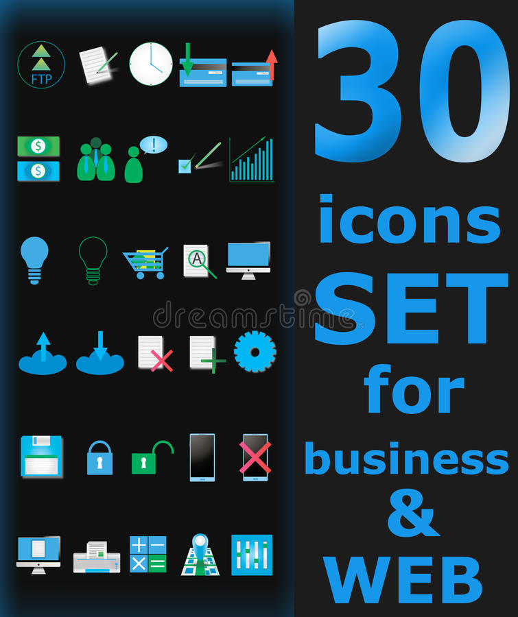 30 geplaatste pictogrammen! royalty-vrije stock foto's