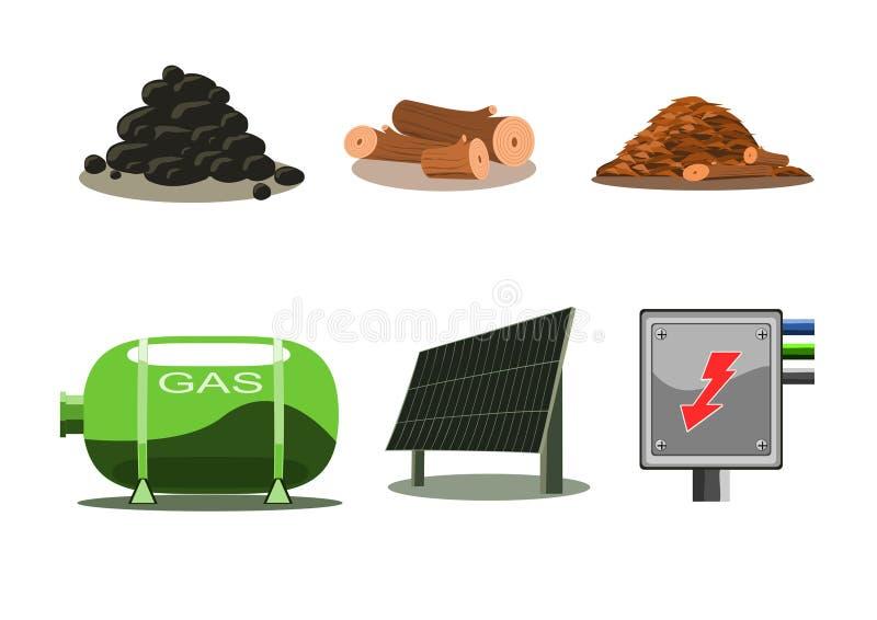 Geplaatste pictogrammen - Brandstof royalty-vrije illustratie