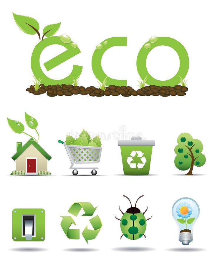 Geplaatste pictogrammen ECO stock illustratie