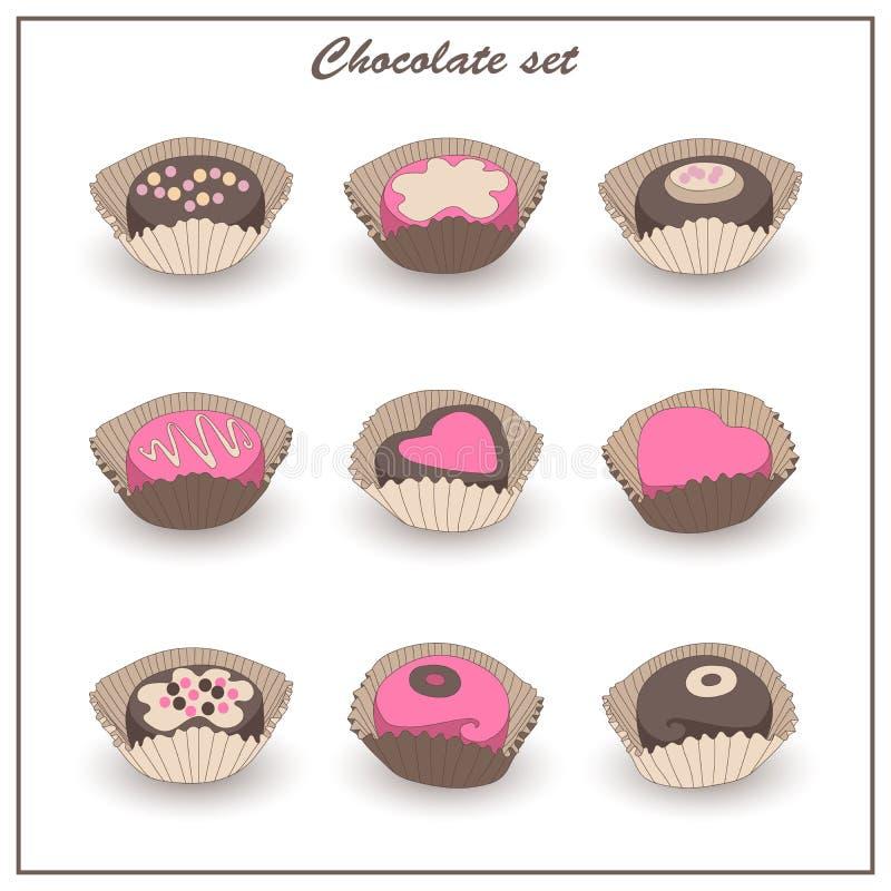 Geplaatste pictogrammen van chocolade de smakelijke snoepjes royalty-vrije illustratie