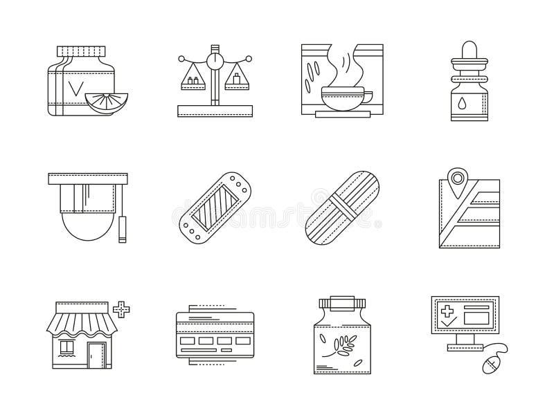 Geplaatste pictogrammen van de apotheek de vlakke lijn stock illustratie
