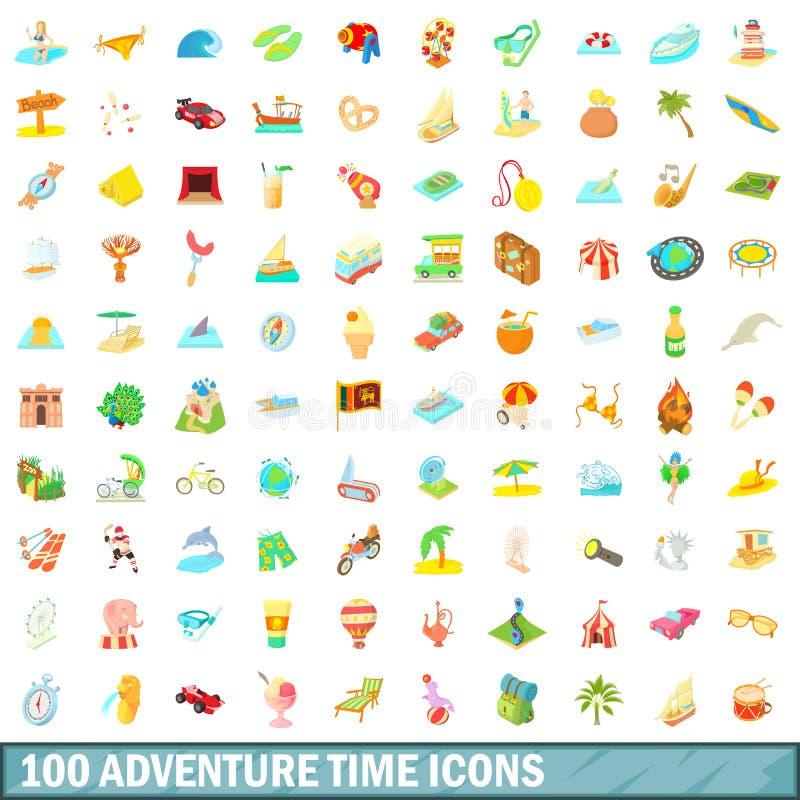 100 geplaatste pictogrammen van de avonturentijd, beeldverhaalstijl stock illustratie