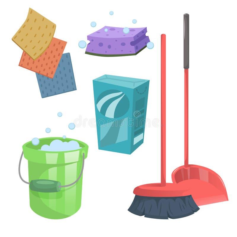 Geplaatste pictogrammen van de beeldverhaal de in schoonmakende dienst royalty-vrije illustratie