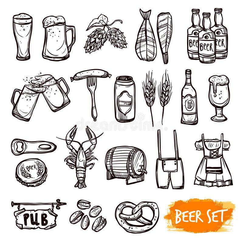 Geplaatste pictogrammen van de bier de zwarte krabbel stock illustratie