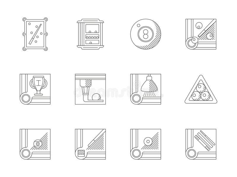 Geplaatste pictogrammen van de biljart de vlakke lijn stock illustratie