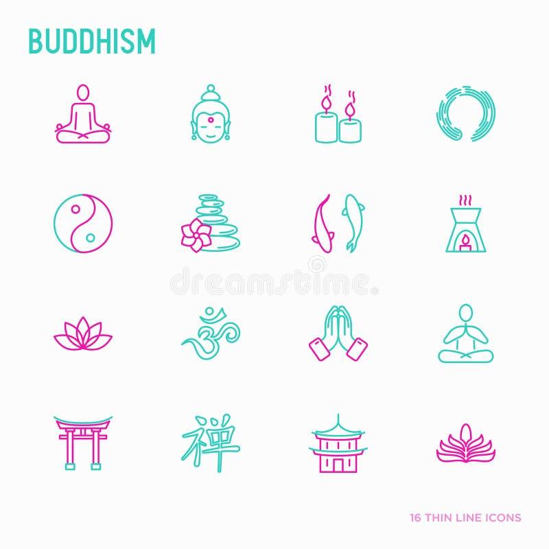 Geplaatste pictogrammen van de boeddhisme de dunne lijn vector illustratie