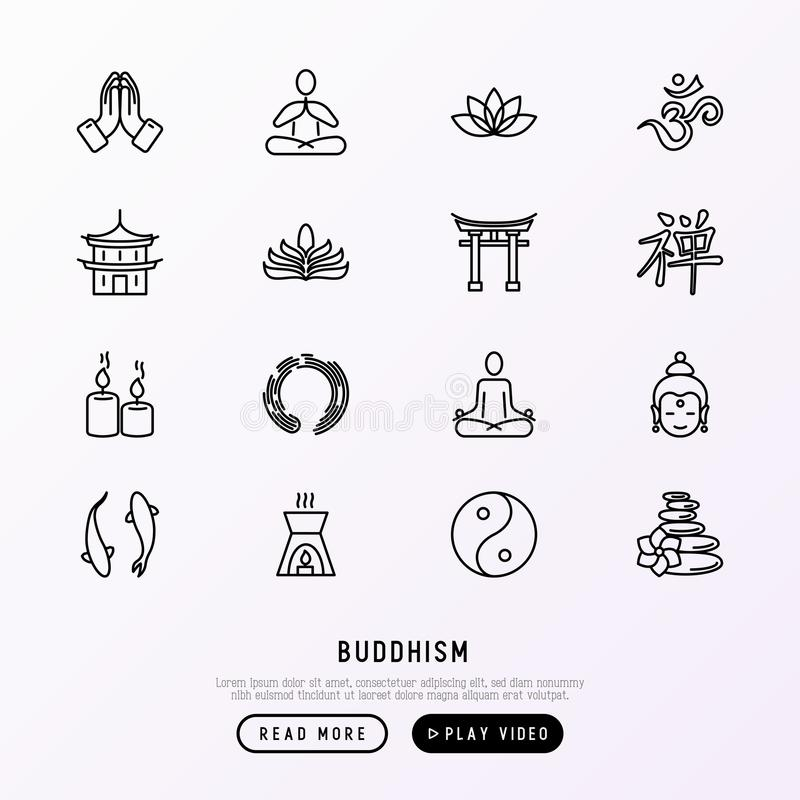Geplaatste pictogrammen van de boeddhisme de dunne lijn stock illustratie