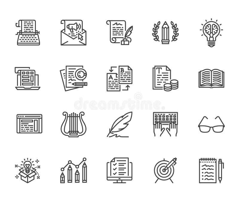 Geplaatste pictogrammen van de Copywritings de vlakke lijn Schrijver het typen de tekst, sociale media stelt, e-mailbulletin, cre vector illustratie
