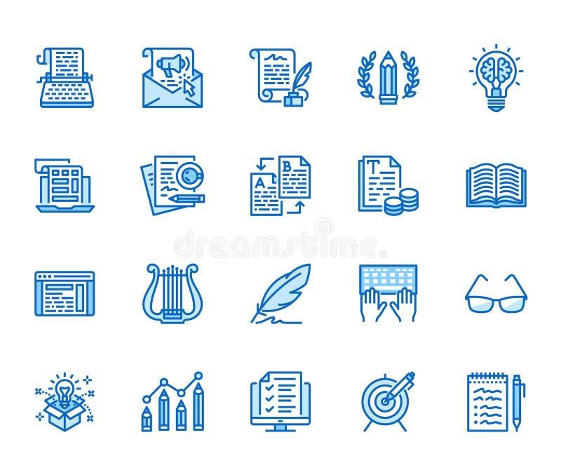 Geplaatste pictogrammen van de Copywritings de vlakke lijn Schrijver het typen de tekst, sociale media stelt, e-mailbulletin, cre royalty-vrije illustratie