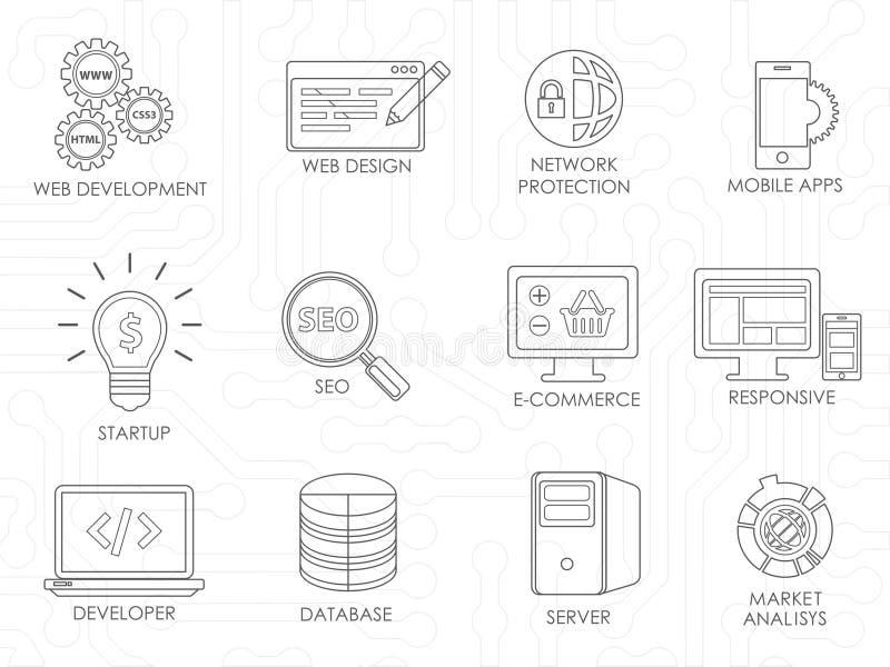 Geplaatste pictogrammen van de de ontwikkelaar de dunne lijn van de programmeurssoftware stock illustratie