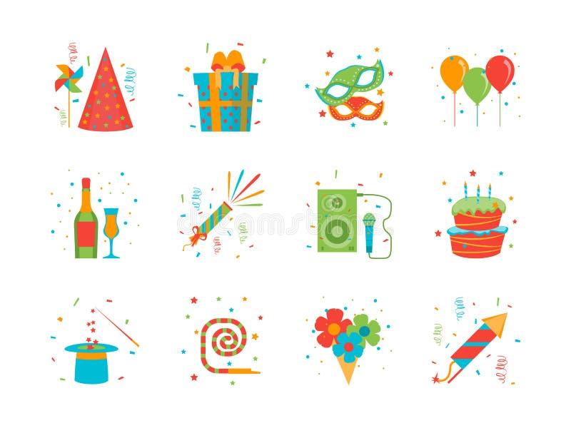 Geplaatste Pictogrammen van de de Partijkleur van de beeldverhaal de Gelukkige Verjaardag Vector royalty-vrije illustratie