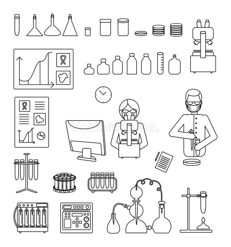 Geplaatste pictogrammen van de het materiaal de vectorlijn van het onderzoeklaboratorium royalty-vrije illustratie
