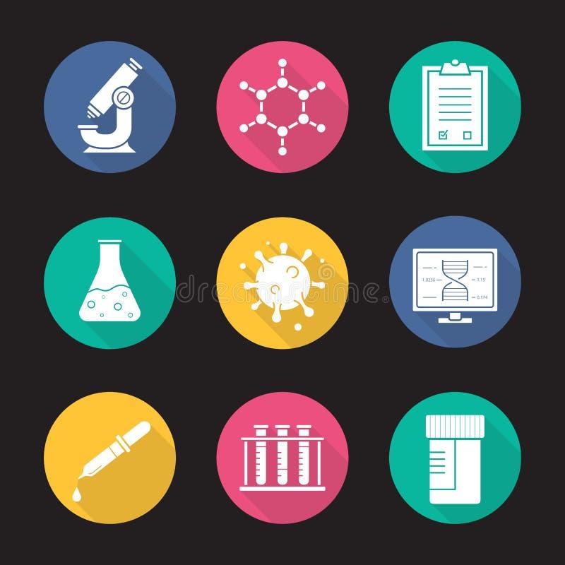 Geplaatste pictogrammen van de het ontwerp lange schaduw van het laboratoriummateriaal de vlakke vector illustratie