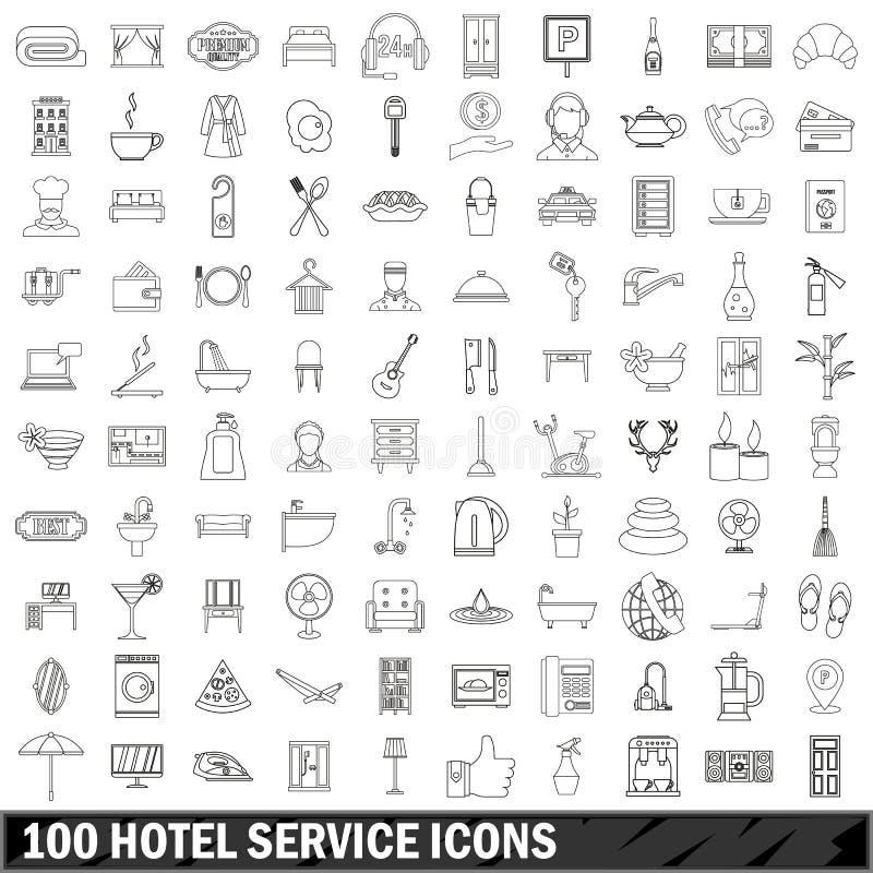 100 geplaatste pictogrammen van de hoteldienst, schetsen stijl vector illustratie