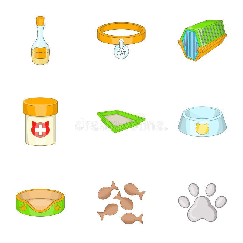 Geplaatste pictogrammen van de huisdieren de veterinaire kliniek, beeldverhaalstijl royalty-vrije illustratie
