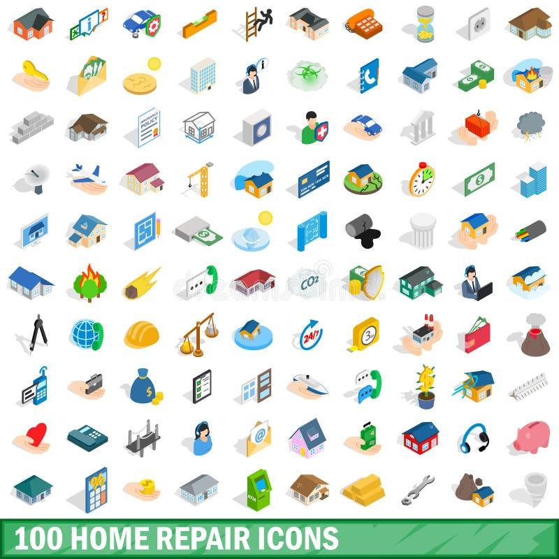 100 geplaatste pictogrammen van de huisreparatie, isometrische 3d stijl royalty-vrije illustratie