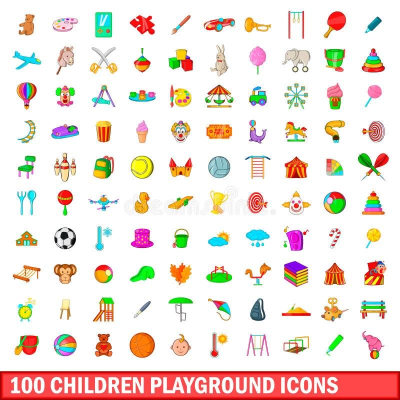 100 geplaatste pictogrammen van de kinderenspeelplaats, beeldverhaalstijl stock illustratie
