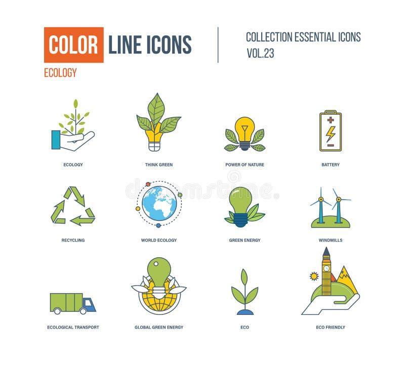 Geplaatste pictogrammen van de kleuren de dunne Lijn Ecologie, groene energie vector illustratie