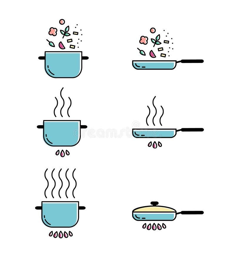 Geplaatste pictogrammen van de kleuren de kokende lijn royalty-vrije illustratie