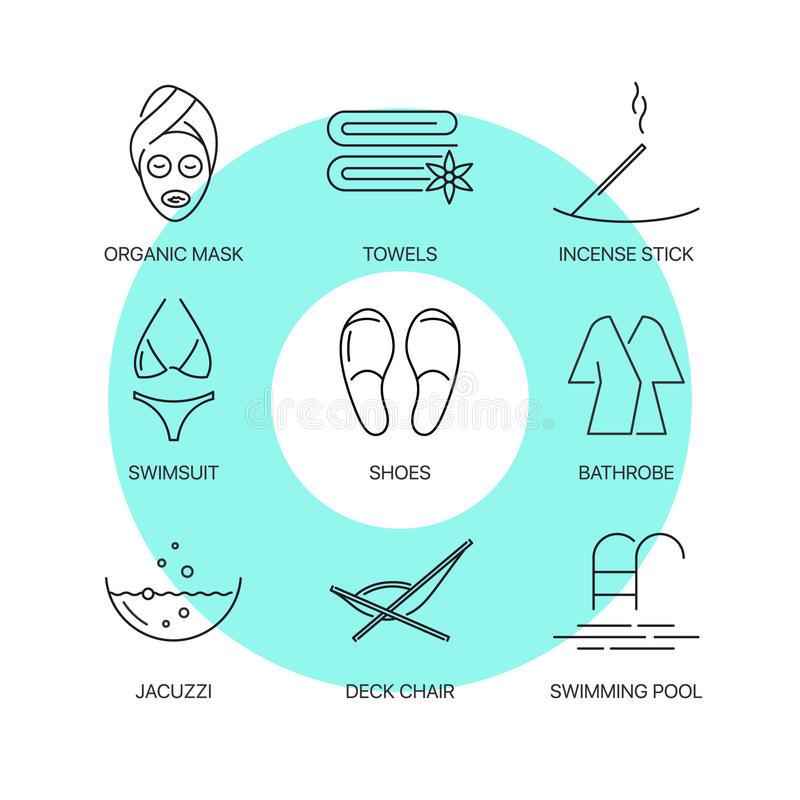 Geplaatste pictogrammen van de kuuroord de dunne lijn stock illustratie