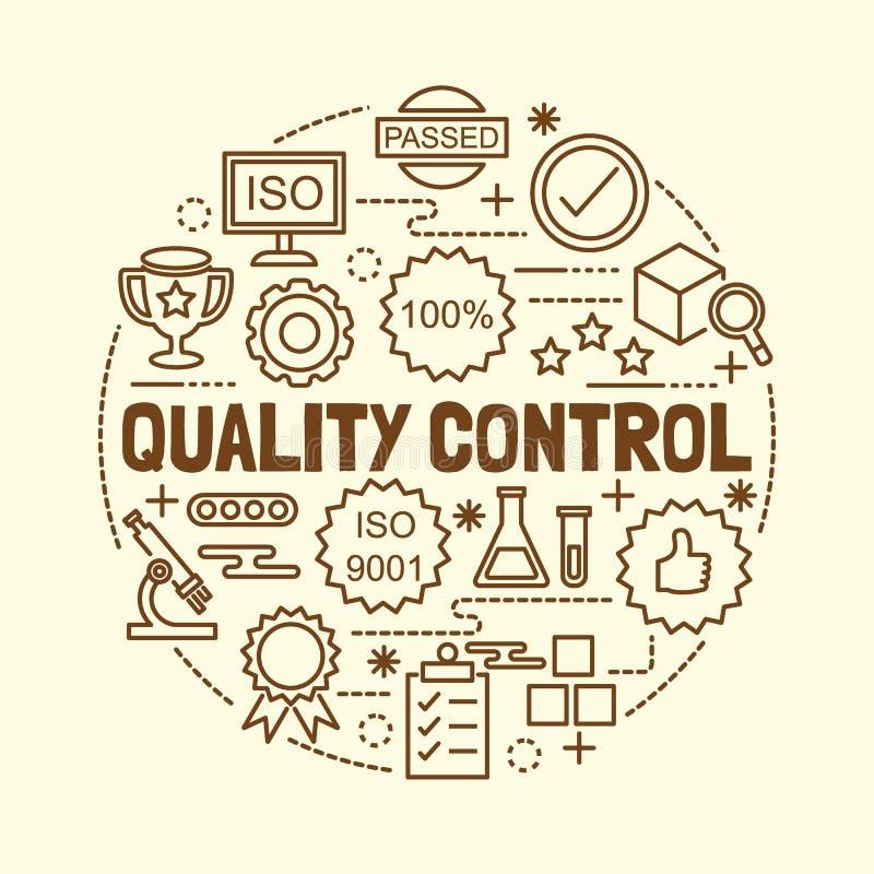Geplaatste pictogrammen van de kwaliteitscontrole de minimale dunne lijn stock illustratie