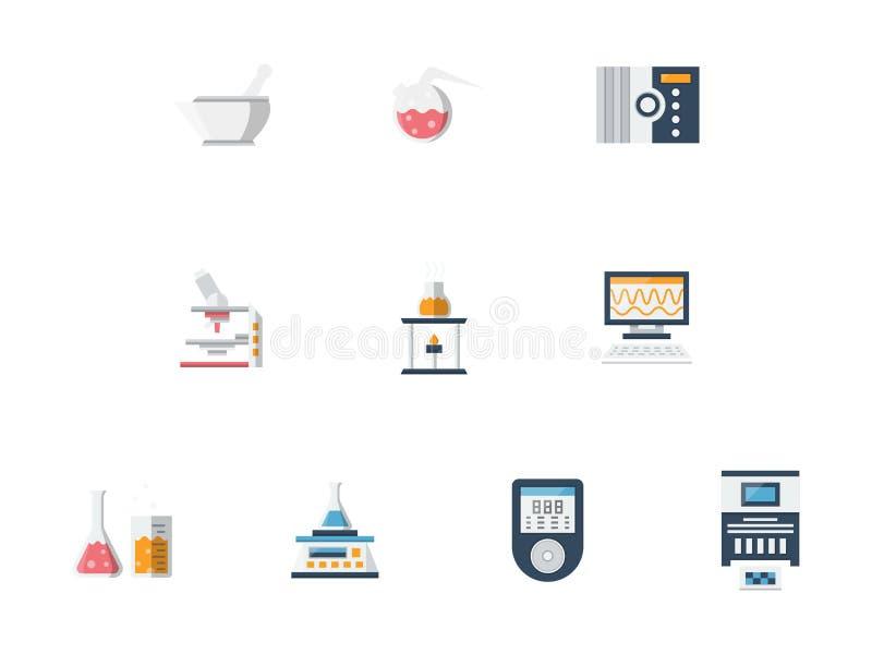 Geplaatste pictogrammen van de laboratorium de vlakke kleur royalty-vrije illustratie