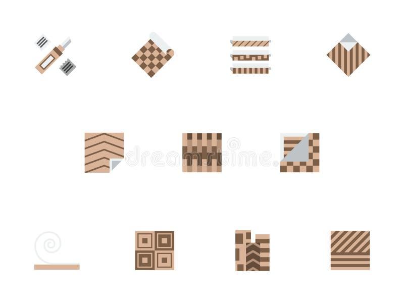 Geplaatste pictogrammen van de linoleum de bruine vlakke stijl stock illustratie