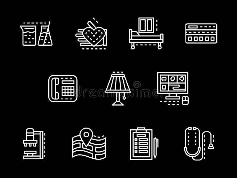 Geplaatste pictogrammen van de medische behandeling de witte lijn vector illustratie