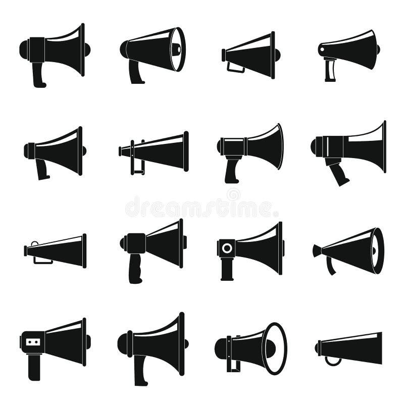 Geplaatste pictogrammen van de megafoon de luide spreker, eenvoudige stijl vector illustratie