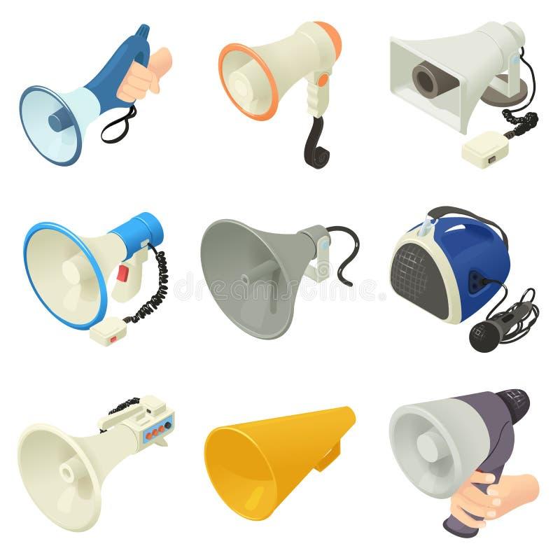 Geplaatste pictogrammen van de megafoon de luide spreker, isometrische stijl royalty-vrije illustratie